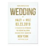 Blanco y invitación del boda de la tipografía del invitación 12,7 x 17,8 cm