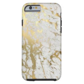 Blanco y mármol del oro funda resistente iPhone 6