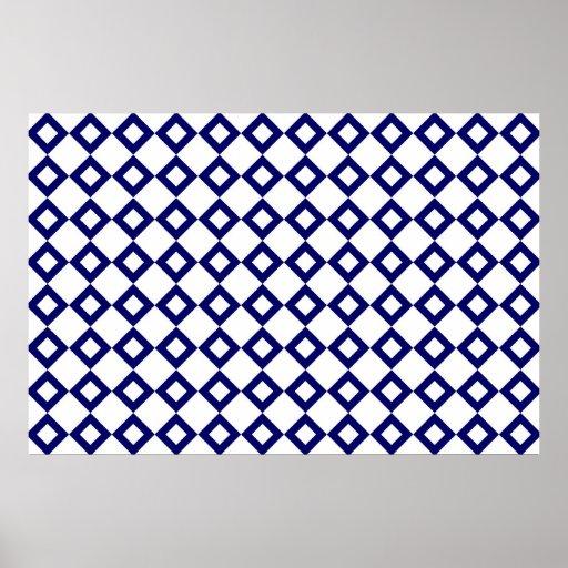 Blanco y modelo del diamante de la marina de póster