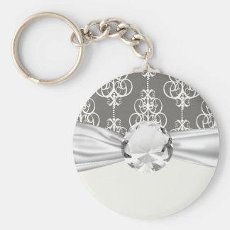 blanco y modelo gris del damasco de la elegancia d llavero redondo tipo pin