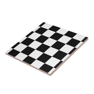 Blanco y negro a cuadros azulejo cuadrado pequeño