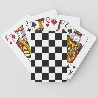 Blanco y negro a cuadros barajas de cartas