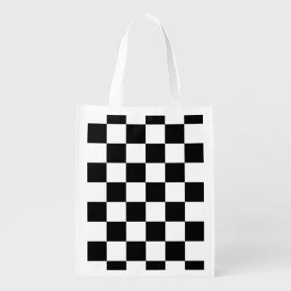 Blanco y negro a cuadros bolsas reutilizables