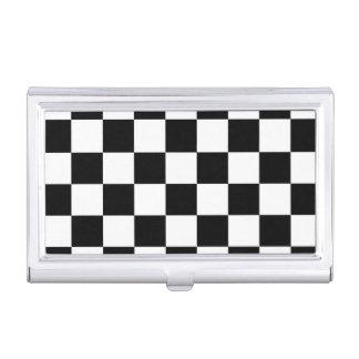 Blanco y negro a cuadros caja de tarjetas de presentación