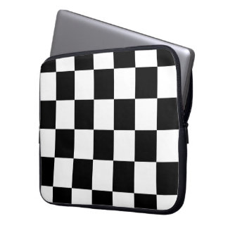 Blanco y negro a cuadros manga portátil