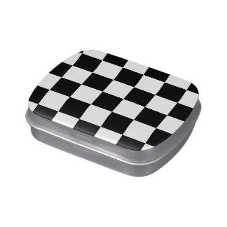Blanco y negro a cuadros latas de caramelos