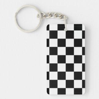 Blanco y negro a cuadros llavero rectangular acrílico a doble cara
