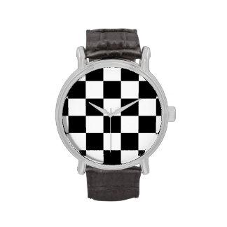 Blanco y negro a cuadros relojes de pulsera