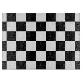 Blanco y negro a cuadros tabla para cortar