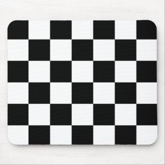 Blanco y negro a cuadros tapetes de raton