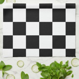Blanco y negro a cuadros toalla de cocina