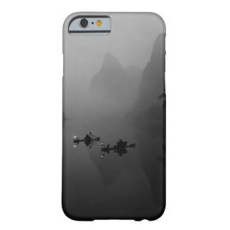 Blanco y negro, China, río de Li, pescador Funda De iPhone 6 Barely There
