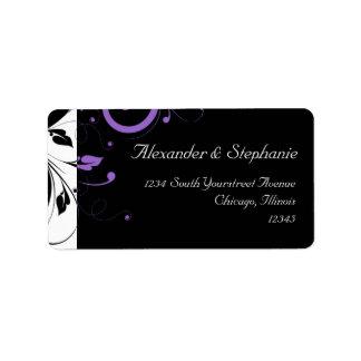 Blanco y negro con acento púrpura del remolino etiqueta de dirección