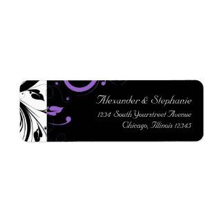 Blanco y negro con acento púrpura del remolino etiqueta de remite