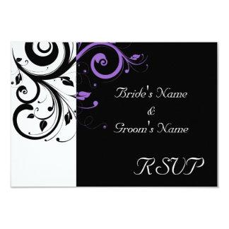 """Blanco y negro con acento púrpura del remolino invitación 3.5"""" x 5"""""""