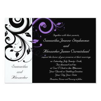 """Blanco y negro con acento púrpura del remolino invitación 5"""" x 7"""""""