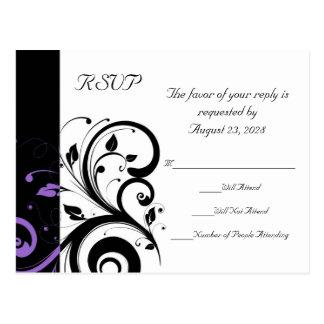 Blanco y negro con acento púrpura del remolino postal