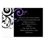 Blanco y negro con acento púrpura del remolino tarjetas de visita