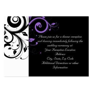 Blanco y negro con acento púrpura del remolino tarjetas de visita grandes