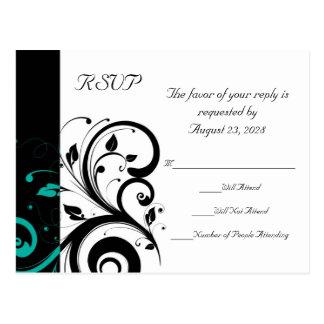 Blanco y negro con el remolino RSVP del revés del Tarjetas Postales