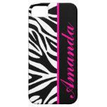 Blanco y negro con nombre rosado del personalizado iPhone 5 fundas