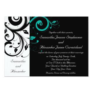 Blanco y negro con remolino del revés del trullo invitación 12,7 x 17,8 cm