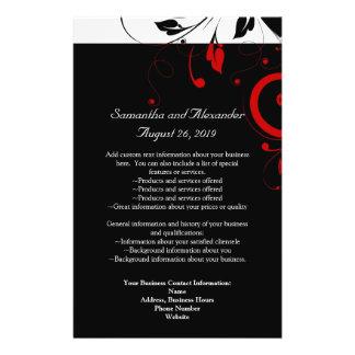 "Blanco y negro con remolino reverso rojo folleto 5.5"" x 8.5"""