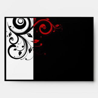 Blanco y negro con remolino reverso rojo sobres