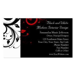 Blanco y negro con remolino reverso rojo plantilla de tarjeta de negocio