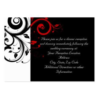 Blanco y negro con remolino reverso rojo tarjetas de visita grandes
