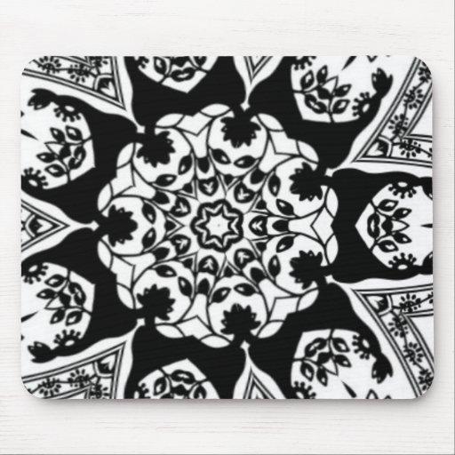 Blanco y negro decorativo alfombrillas de ratón