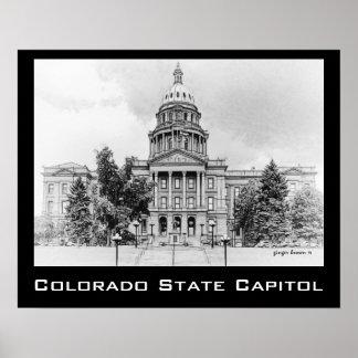 Blanco y negro, edificio del capitolio del estado póster