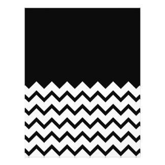 """Blanco y negro. El zigzag de la parte, pieza negro Folleto 8.5"""" X 11"""""""