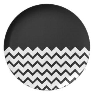 Blanco y negro. El zigzag de la parte, pieza negro Plato De Cena