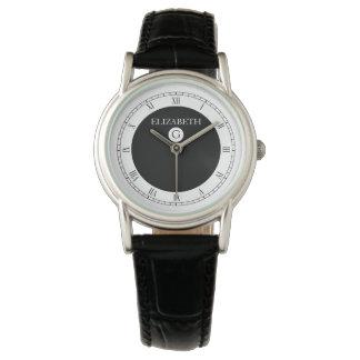 Blanco y negro elegante sólido relojes de pulsera