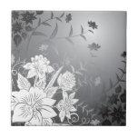 blanco y negro floral tejas  ceramicas