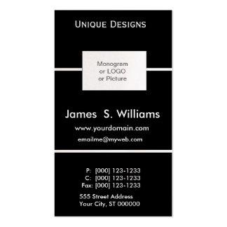 Blanco y negro formal único plantilla de tarjeta de visita