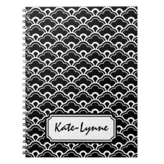 Blanco y negro fresco del modelo personalizado libro de apuntes con espiral