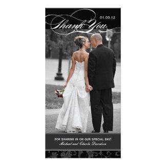 Blanco y negro gracias la tarjeta de la foto 4x8 tarjeta personal con foto