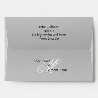 Blanco y negro gris del monograma de encargo del sobres