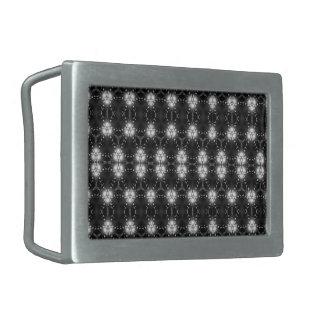 Blanco y negro modelado hebillas cinturón rectangulares