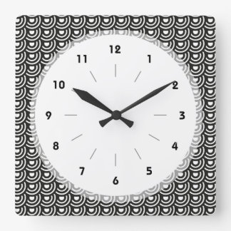 Blanco y negro moderno metropolitano del art déco  reloj cuadrado