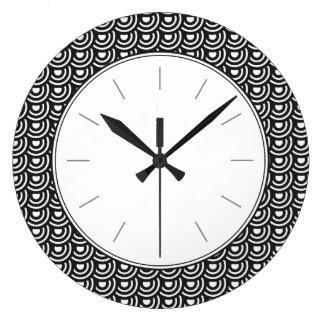 Blanco y negro moderno metropolitano del art déco reloj redondo grande