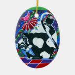 Blanco y negro ornamentos de navidad