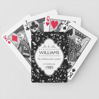 Blanco y negro personalizada del aniversario de bo baraja