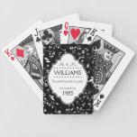 Blanco y negro personalizada del aniversario de bo cartas de juego