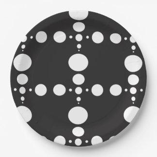 blanco y negro plato de papel de 9 pulgadas