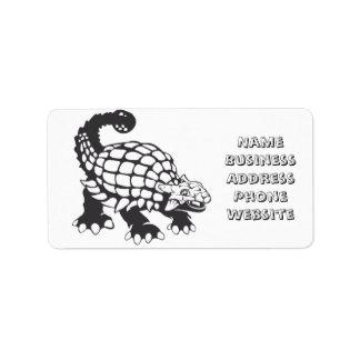 Blanco y negro prehistórico del dinosaurio del etiqueta de dirección