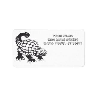 Blanco y negro prehistórico del dinosaurio del etiquetas de dirección