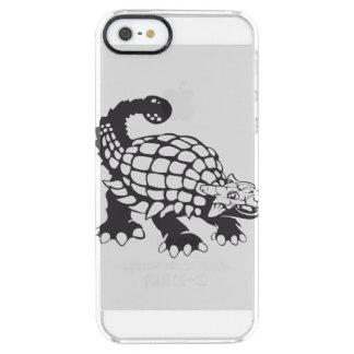 Blanco y negro prehistórico del dinosaurio del funda clearly™ deflector para iPhone 5 de uncommon